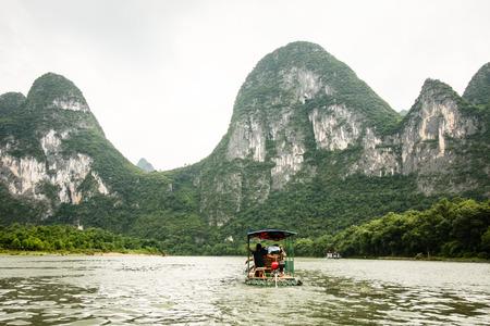 Bamboo boat in Li river china photo