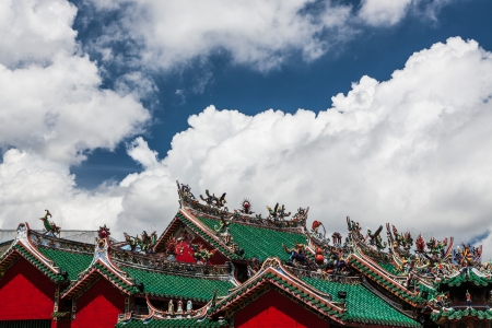 chinese temple roofs and dramatic clouds photo