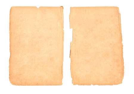 Two sheets of old paper isolated on white photo