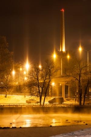 City lights at night winter photo