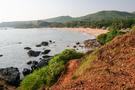 view to om beach in india karnataka from a hilltop photo