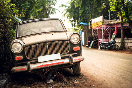 dirty car: Dirty abandoned old -fashioned car india Stock Photo