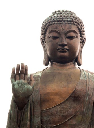Grote Boeddha geïsoleerd op wit Stockfoto