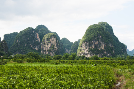 karst: Farmland and karst mountains in southern china