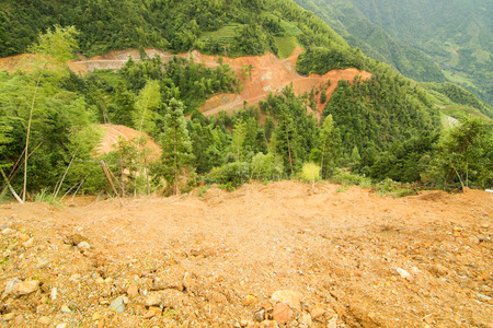 landslide: View of landslide in longsheng china