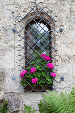 Small castle window and vivid pink flowers Stock Photo