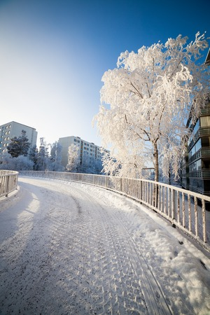 gritting: Cold fresh winter morning in city