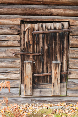 Old wooden barn door photo