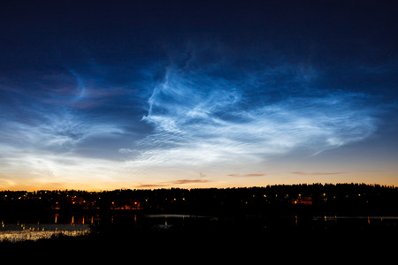 Beautiful sky phenomenon noctilucent clouds
