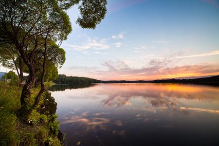 lakeside: Sunset reflection at lakeside