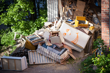 mess: Funny broken furnitures trash pile