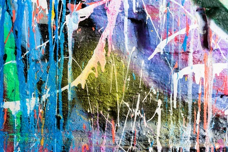 Dripping paint graffiti wall