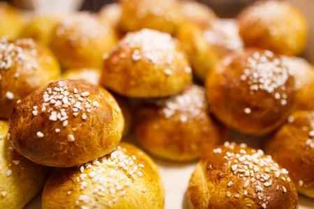 finnish: Delicious finnish sugar buns Stock Photo