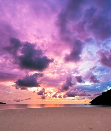 sunrise ocean: Colorful majestic sunset at sand beach borneo malaysia