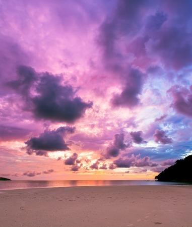purple sunset: Colorful majestic sunset at sand beach borneo malaysia