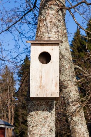 waterfowl: Empty waterfowl birdhouse on tree