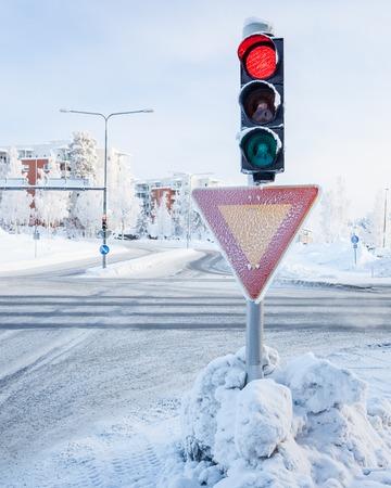 red traffic light: Red traffic light at winter