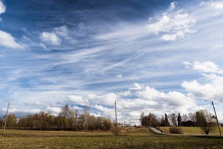 cirrus: Long cirrus clouds skyscape panorama