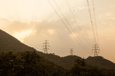 back country: Power lines in hong kong back country hills