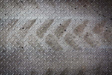 diamondplate: Dirty metal pattern texture and tyre tracks