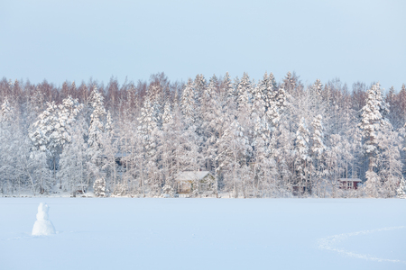 frozen lake: Winter lake scenery in finland at evening
