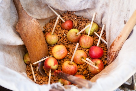 be prepared: Candy apples waiting to be prepared in bag with almonds