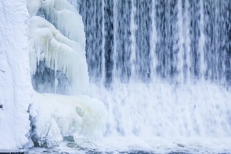 ice dam: Icicles and ice formation in waterfall