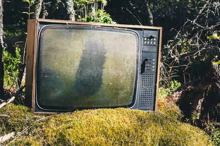 Old abandoned analog television in forest