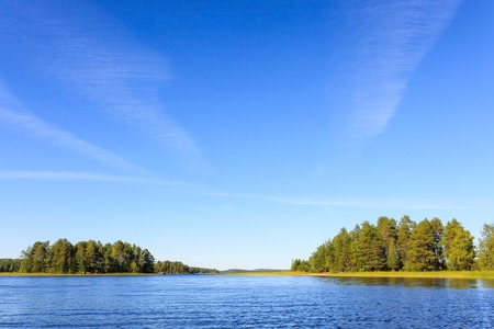 Lake scenery in Finland on a sunny summer day