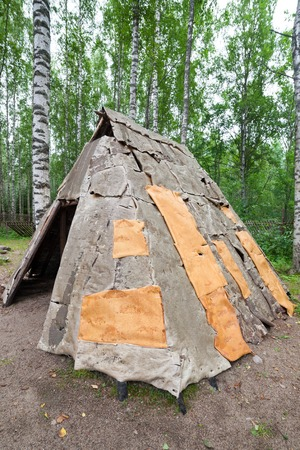 edad de piedra: Stone age birch bark hut in forest