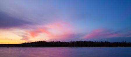 long lake: Long exposure sunset at lake finland