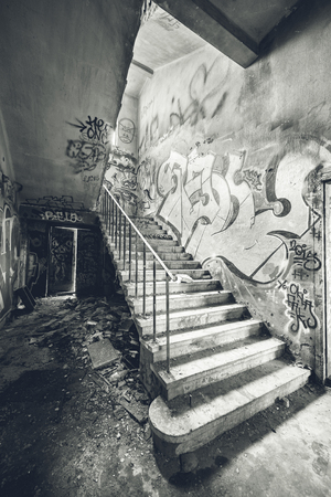 Stairway in abandoned factory