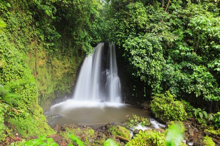 Waterfall in costa rica forest long exposure