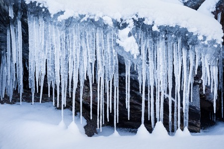 Row of big frosty icicles in nature
