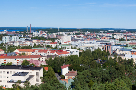 View of Tampere Finland taken at Pyynikki lookout tower at summer day Stock Photo