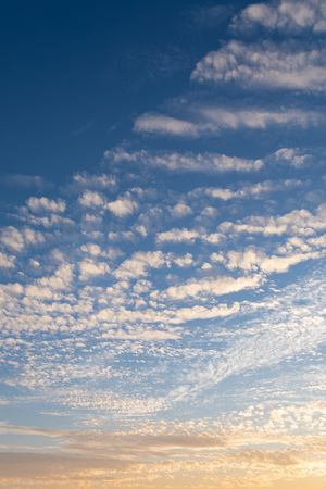 Cirrocumulus clouds sunset sky light cloudscape background pattern 免版税图像