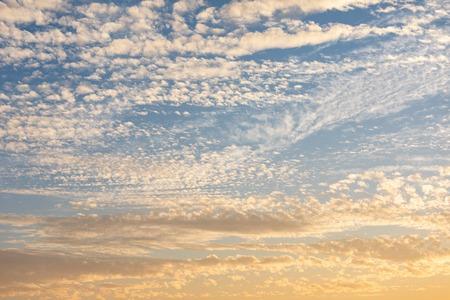 Cirrocumulus clouds sunset sky light cloudscape background pattern