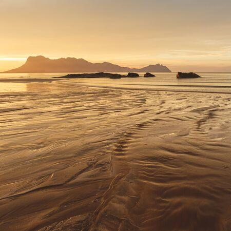 Golden sunset light at beach in Borneo Bako national park Malaysia