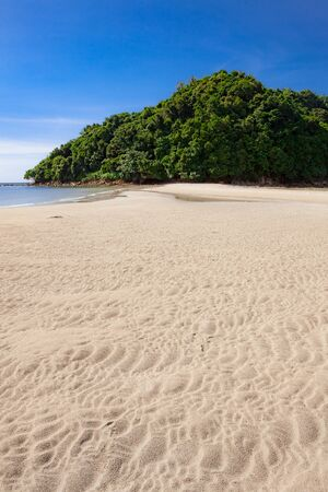 Tropical forest island at the end of paradise sand beach in Borneo