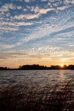 Cirrocumulus clouds sunset sky landscape at dusk 版權商用圖片