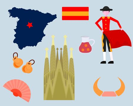 Spain traditional symbols set.