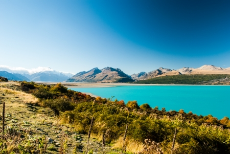 Mount Cook and Pukaki lake, New Zealand photo