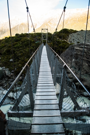 Rope Bridge at Mount Cook National Park, South Island, New Zealand photo