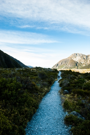 Path in Mount Cook National Park, South Island, New Zealand photo