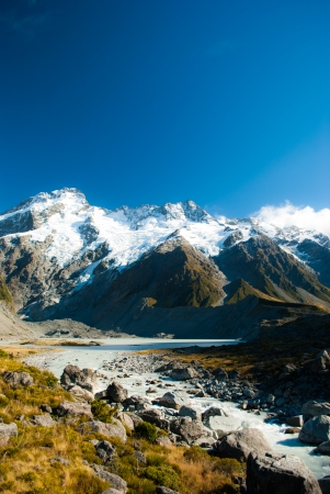 Beautiful view and glacier in Mount Cook National Park photo