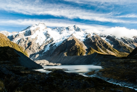 Beautiful view and glacier in Mount Cook National Park, New Zealand photo