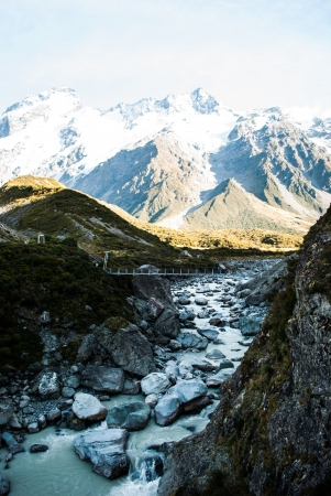 River at Mount Cook National Park, South Island, New Zealand photo