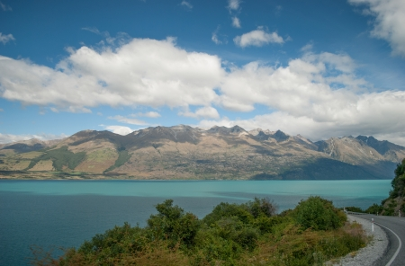Scenic view of Lake Wakatipu, Glenorchy Queenstown Road, South Island, New Zealand photo
