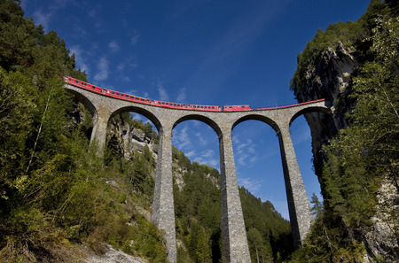 Rhaetian Railway (Rhatische Bahn) on the Landwasser Viaduct, World Heritage Site, Filisur, Grisons, Switzerland