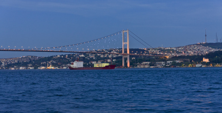 View to the Asian part of Istanbul and the illuminated Bosphorus Bridge, Turkey